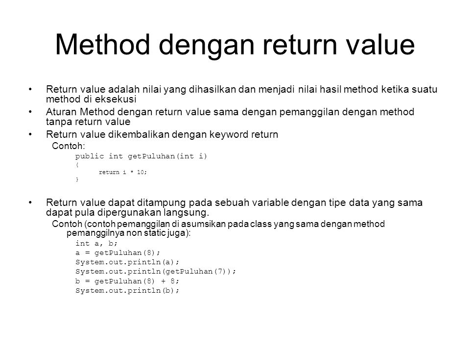 Method dengan return value