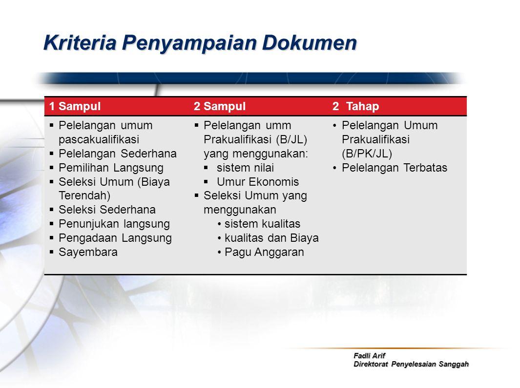 Kriteria Penyampaian Dokumen