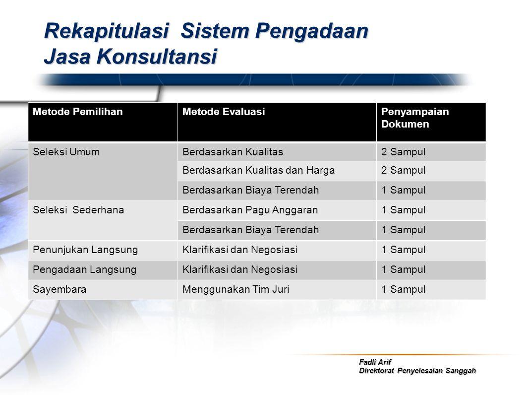 Rekapitulasi Sistem Pengadaan Jasa Konsultansi