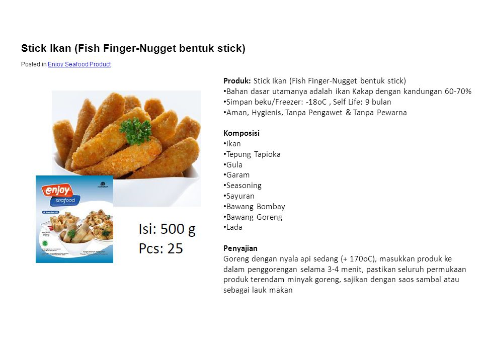 Stick Ikan (Fish Finger-Nugget bentuk stick)