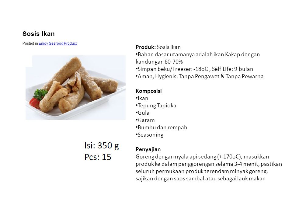 Sosis Ikan Produk: Sosis Ikan