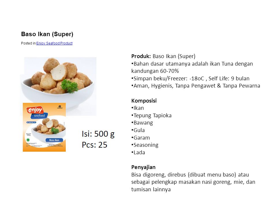 Baso Ikan (Super) Posted in Enjoy Seafood Product.