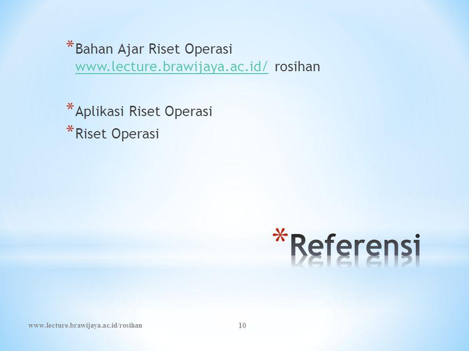 Bahan Ajar Riset Operasi www.lecture.brawijaya.ac.id/ rosihan