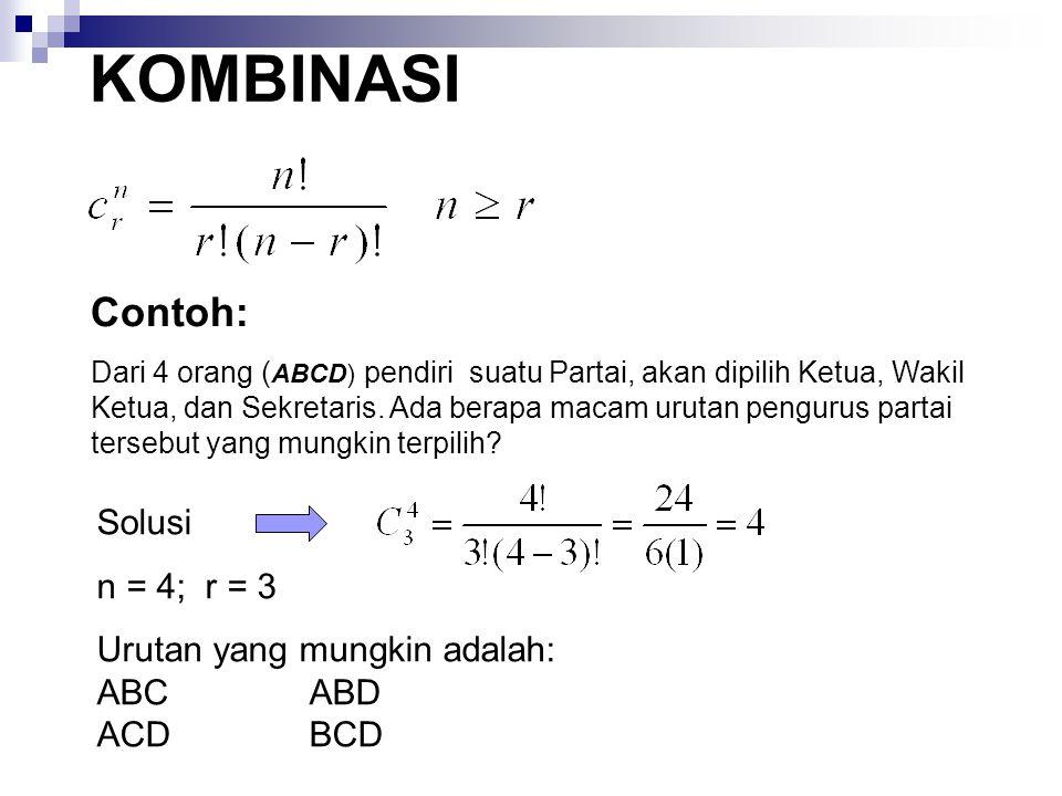 KOMBINASI Contoh: Solusi n = 4; r = 3 Urutan yang mungkin adalah: