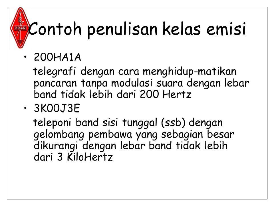 Contoh penulisan kelas emisi