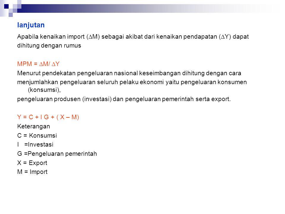 lanjutan Apabila kenaikan import (DM) sebagai akibat dari kenaikan pendapatan (DY) dapat. dihitung dengan rumus.
