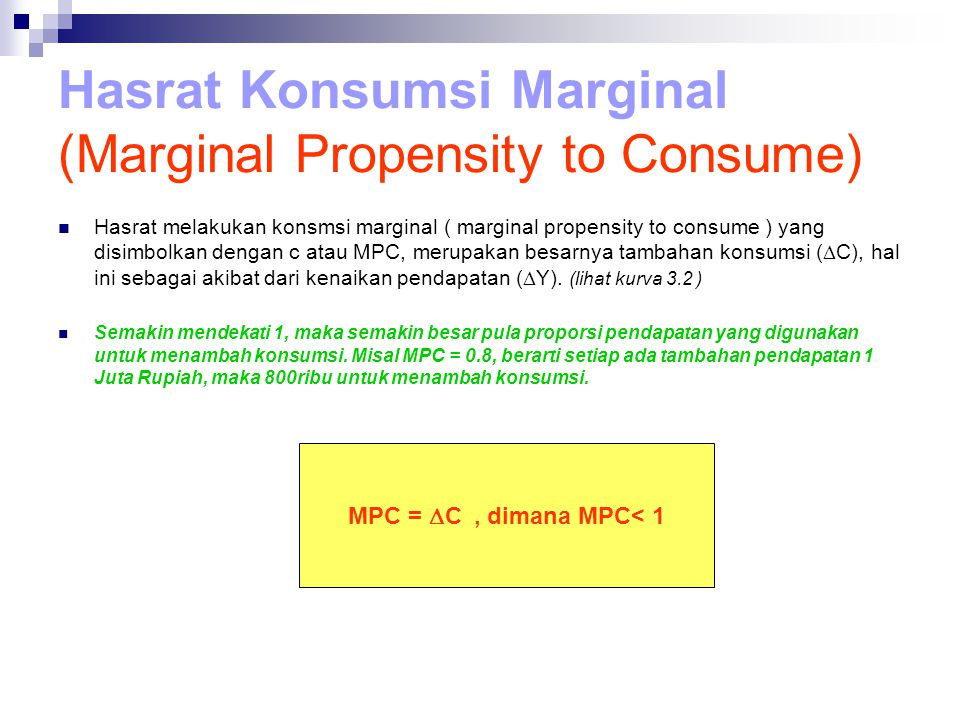 Hasrat Konsumsi Marginal (Marginal Propensity to Consume)