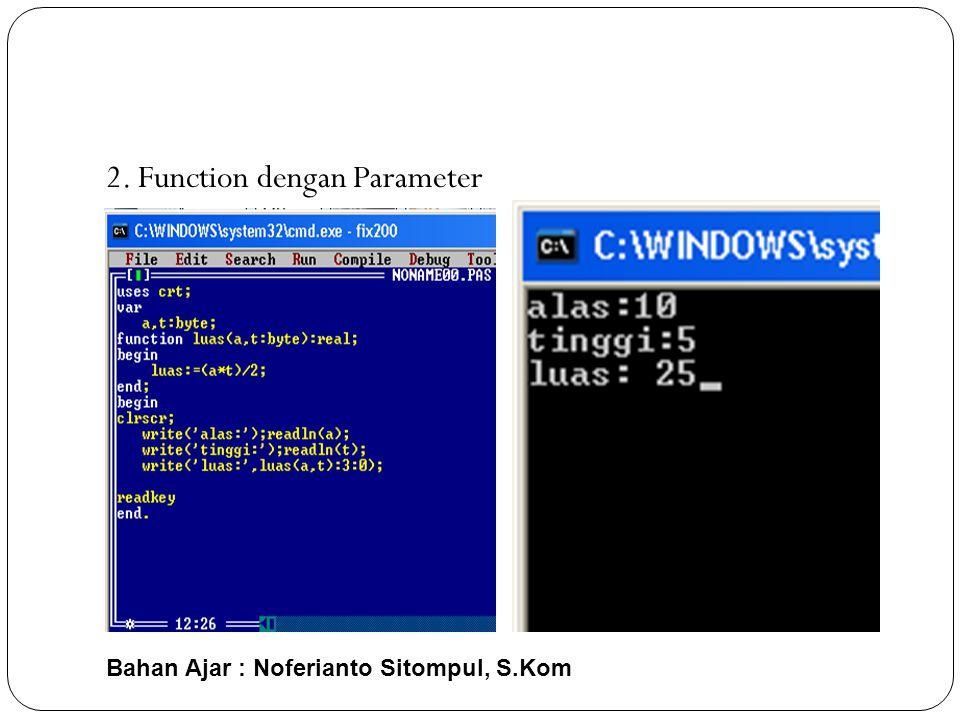 2. Function dengan Parameter