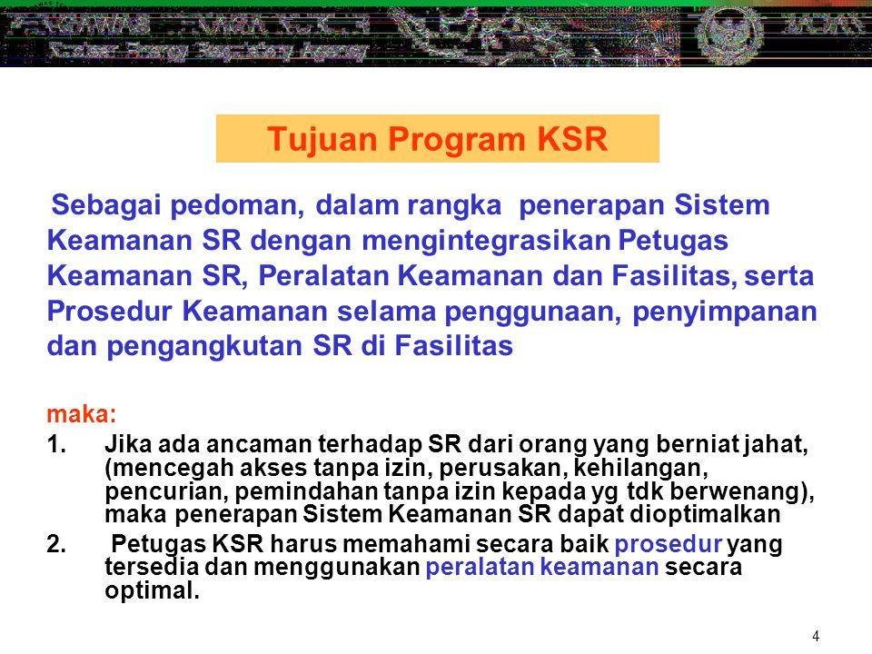 Tujuan Program KSR Keamanan SR dengan mengintegrasikan Petugas