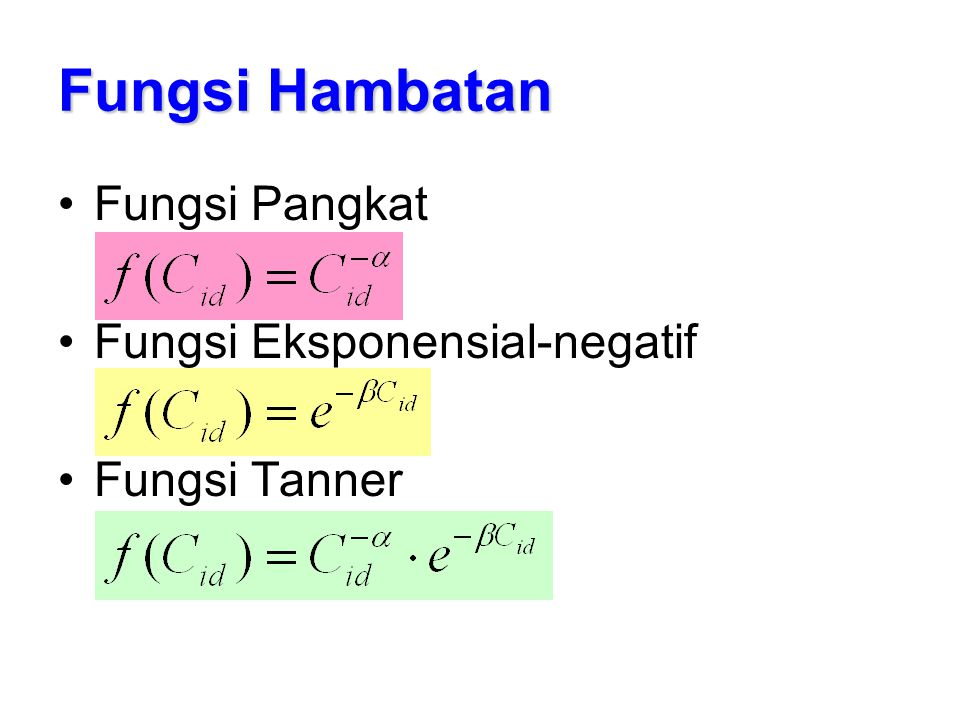 Fungsi Hambatan Fungsi Pangkat Fungsi Eksponensial-negatif
