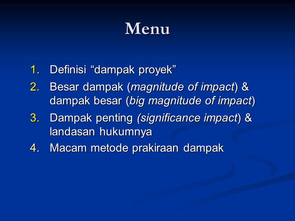 Menu Definisi dampak proyek