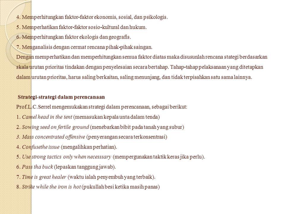 4. Memperhitungkan faktor-faktor ekonomis, sosial, dan psikologis. 5