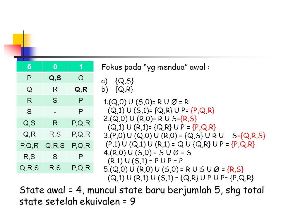 State awal = 4, muncul state baru berjumlah 5, shg total