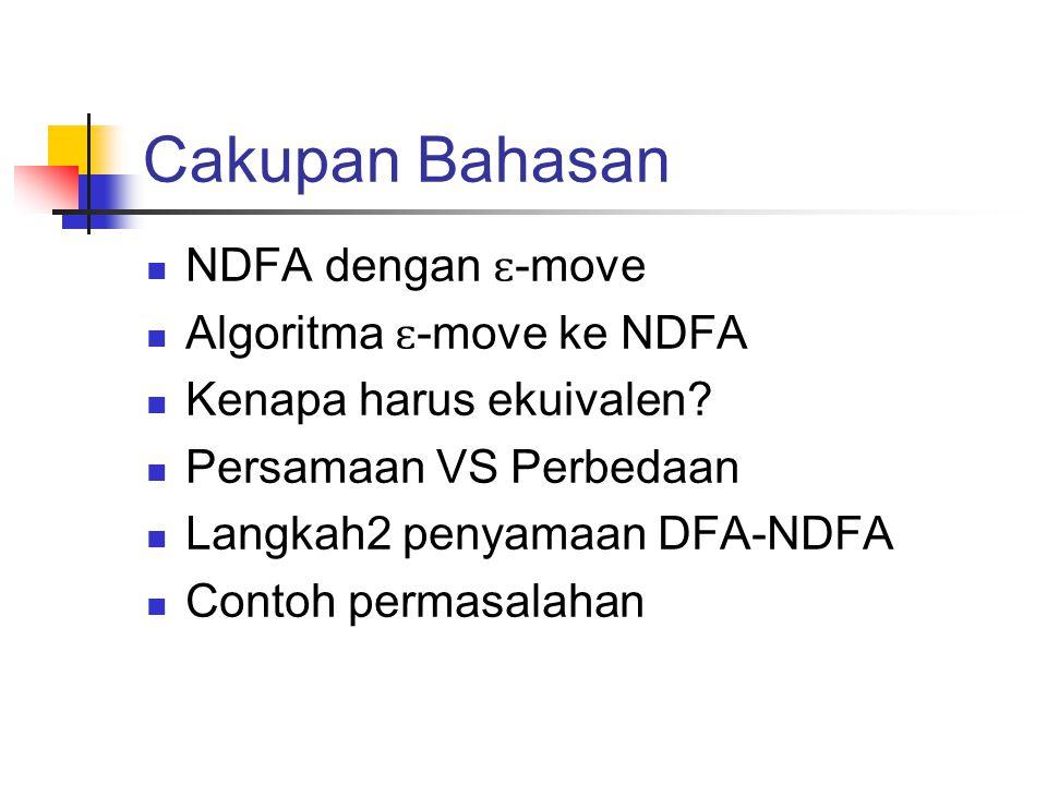 Cakupan Bahasan NDFA dengan ɛ-move Algoritma ɛ-move ke NDFA