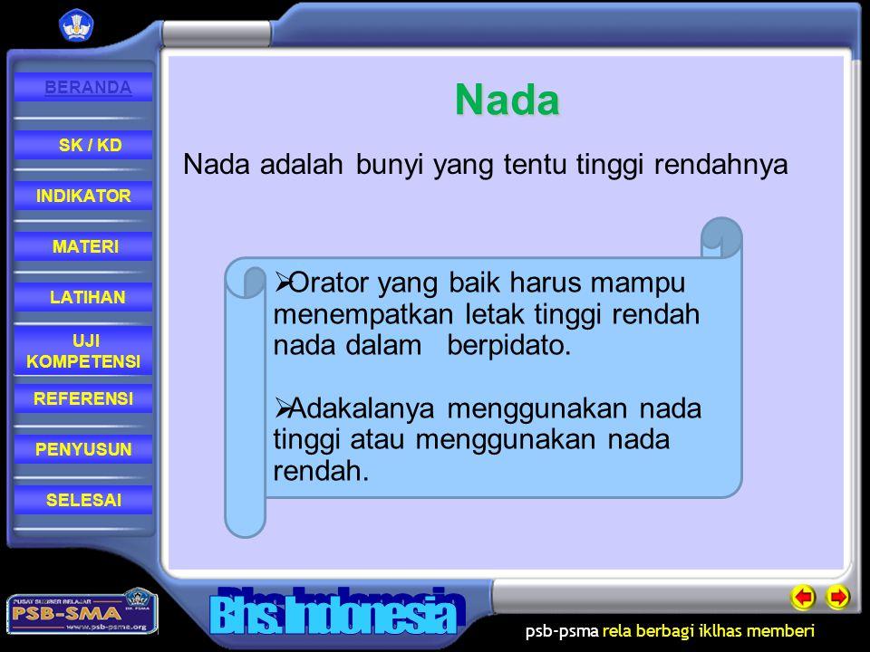 Nada Nada adalah bunyi yang tentu tinggi rendahnya