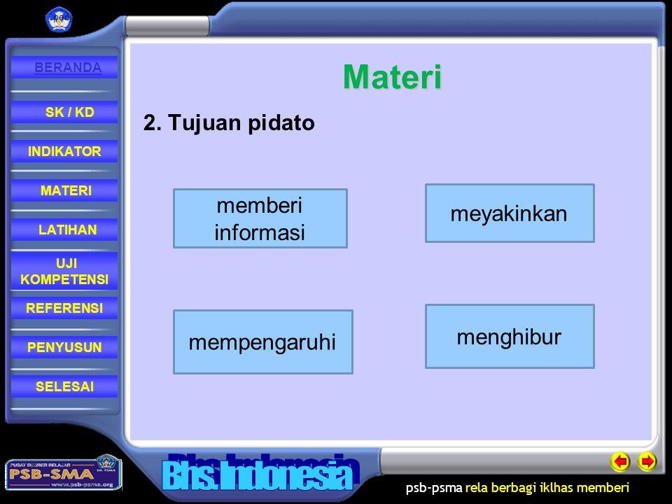 Materi 2. Tujuan pidato memberi informasi meyakinkan menghibur