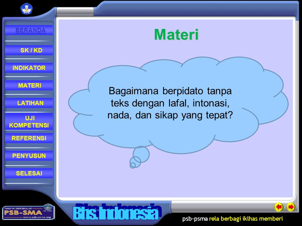 Materi Bagaimana berpidato tanpa teks dengan lafal, intonasi, nada, dan sikap yang tepat