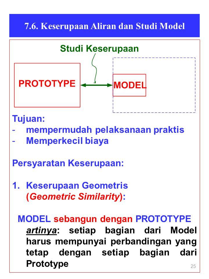 7.6. Keserupaan Aliran dan Studi Model MODEL sebangun dengan PROTOTYPE