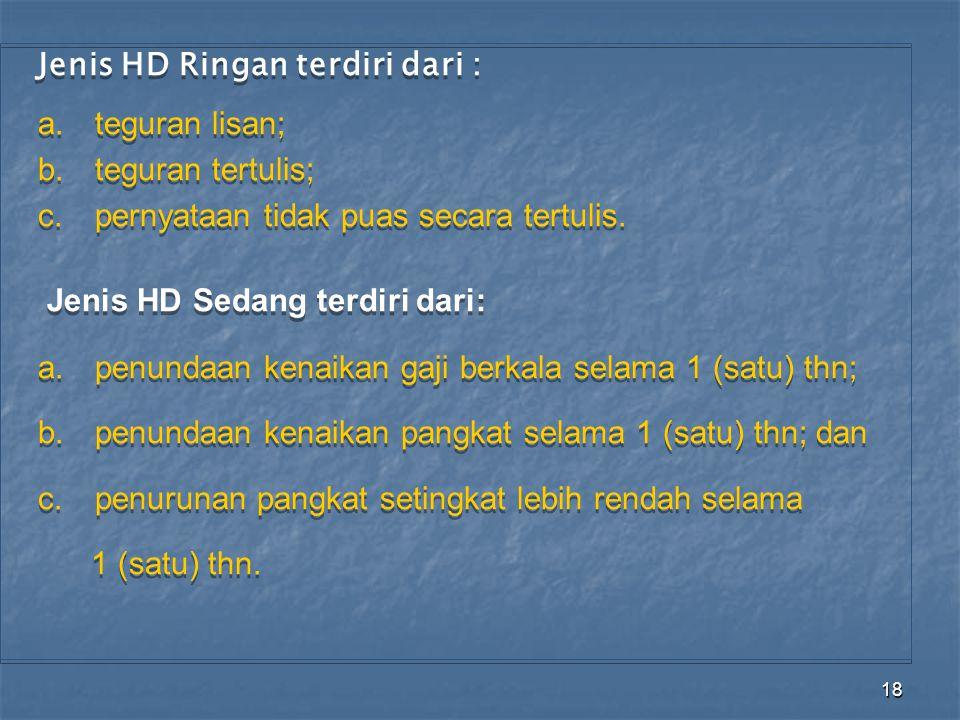 Jenis HD Ringan terdiri dari :