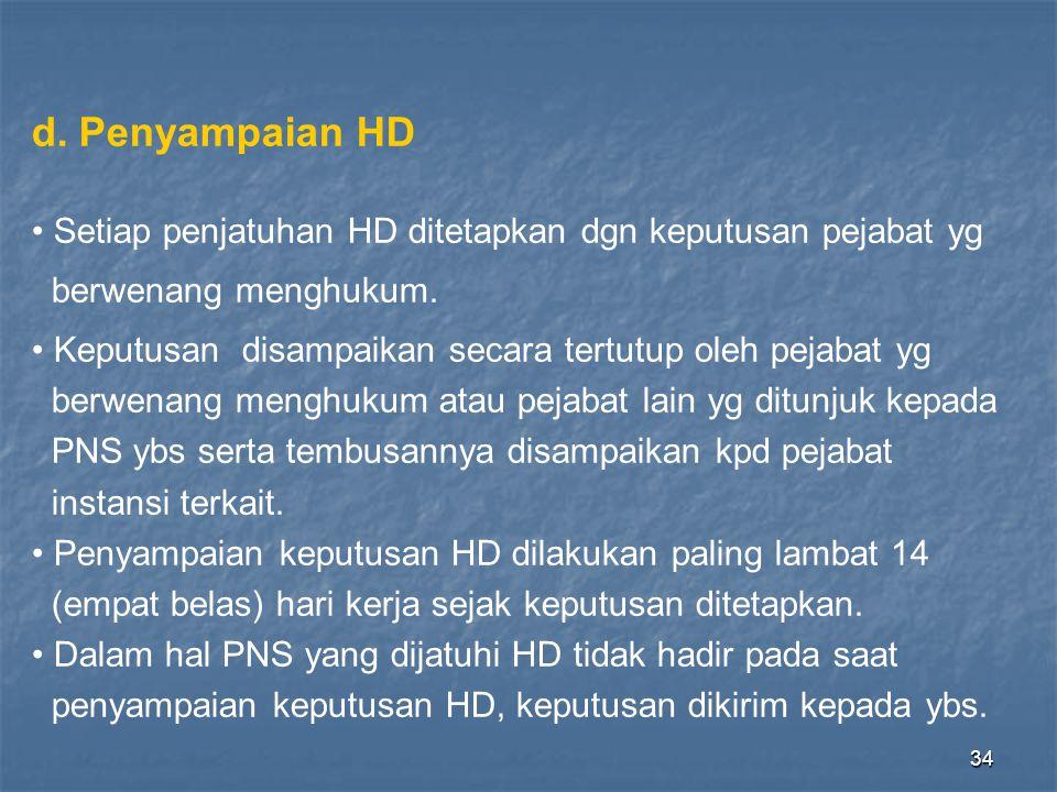 d. Penyampaian HD Setiap penjatuhan HD ditetapkan dgn keputusan pejabat yg. berwenang menghukum.