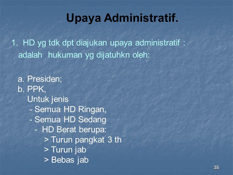 Upaya Administratif. 1. HD yg tdk dpt diajukan upaya administratif :