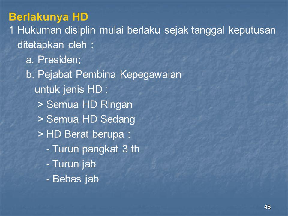 Berlakunya HD 1 Hukuman disiplin mulai berlaku sejak tanggal keputusan
