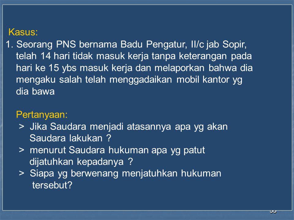 Kasus: Seorang PNS bernama Badu Pengatur, II/c jab Sopir,