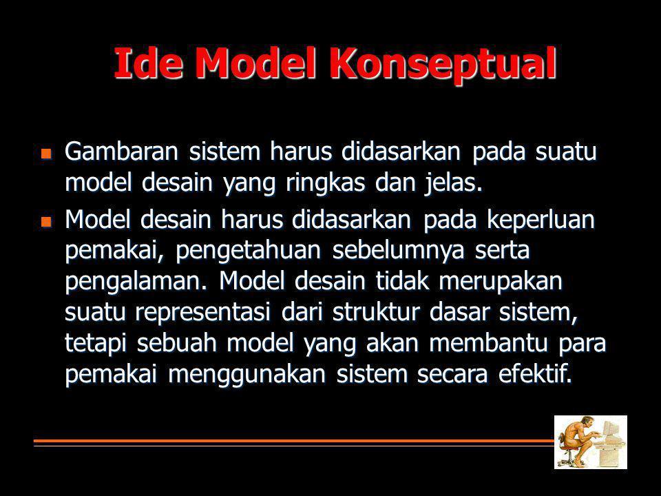 Ide Model Konseptual Gambaran sistem harus didasarkan pada suatu model desain yang ringkas dan jelas.