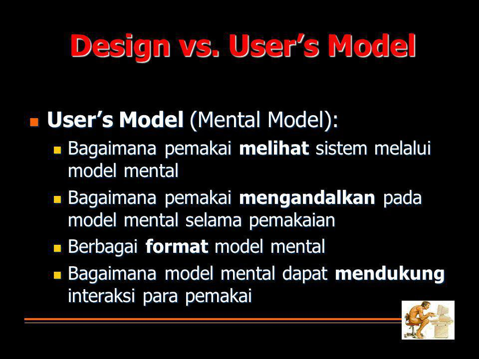Design vs. User's Model User's Model (Mental Model):