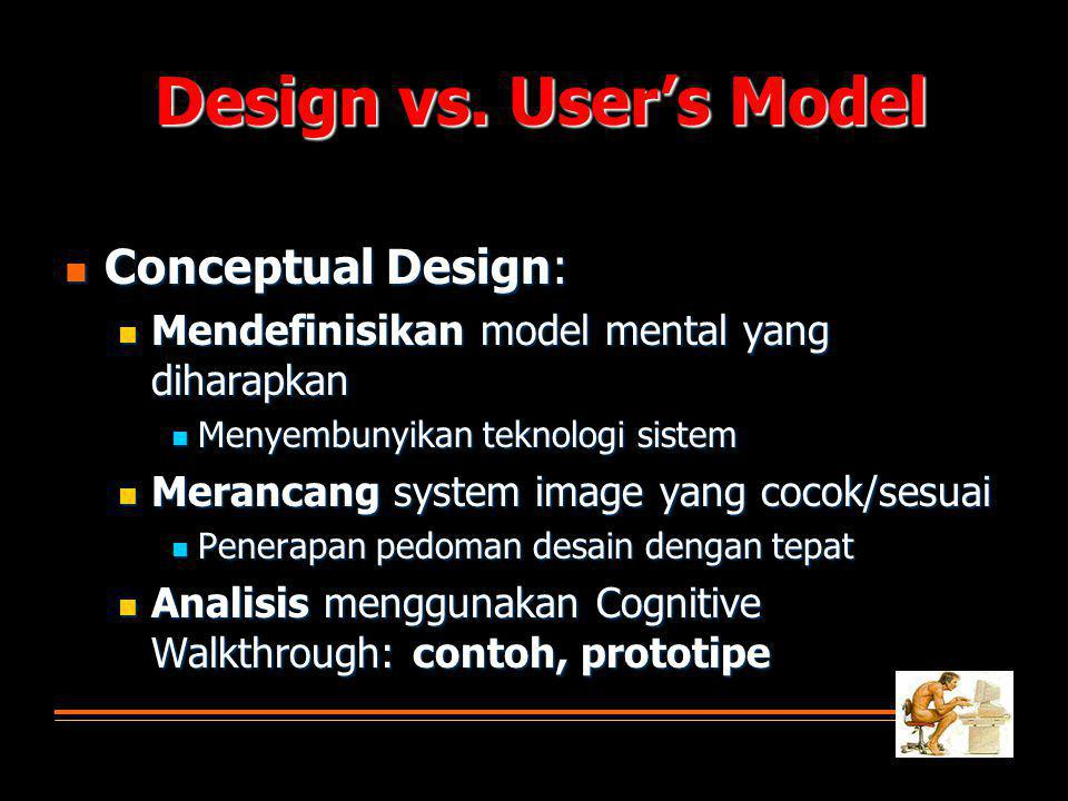 Design vs. User's Model Conceptual Design: