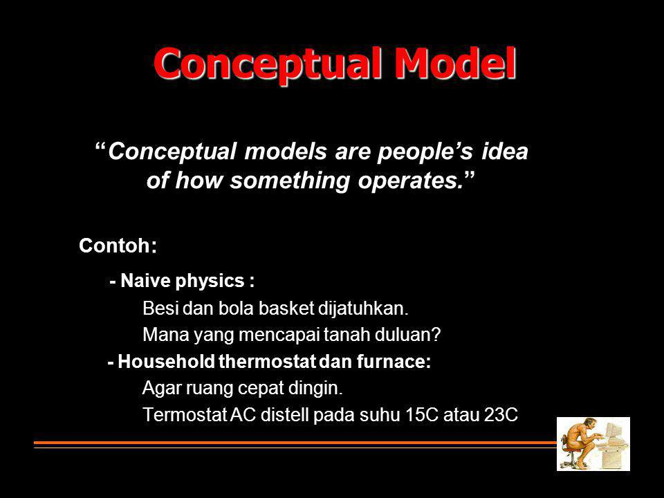 Conceptual models are people's idea of how something operates.
