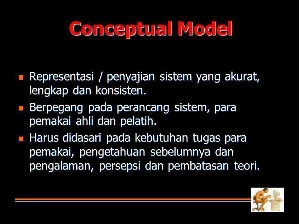 Conceptual Model Representasi / penyajian sistem yang akurat, lengkap dan konsisten. Berpegang pada perancang sistem, para pemakai ahli dan pelatih.