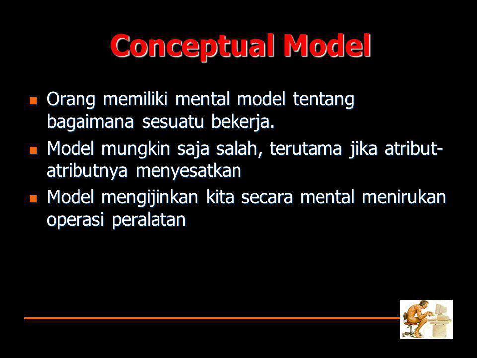 Conceptual Model Orang memiliki mental model tentang bagaimana sesuatu bekerja.