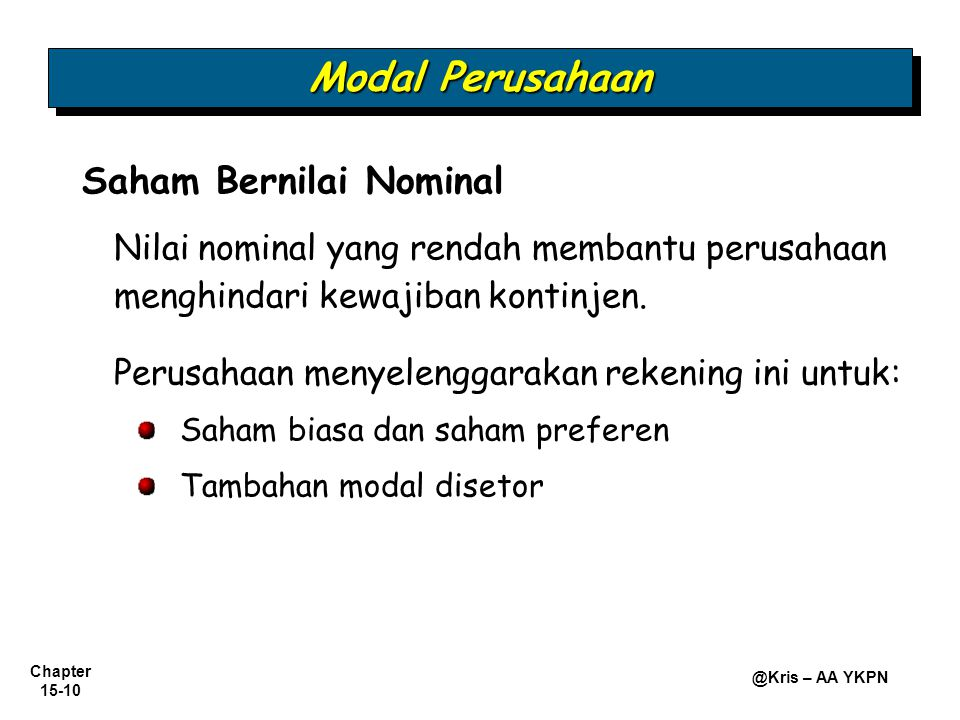 Modal Perusahaan Saham Bernilai Nominal