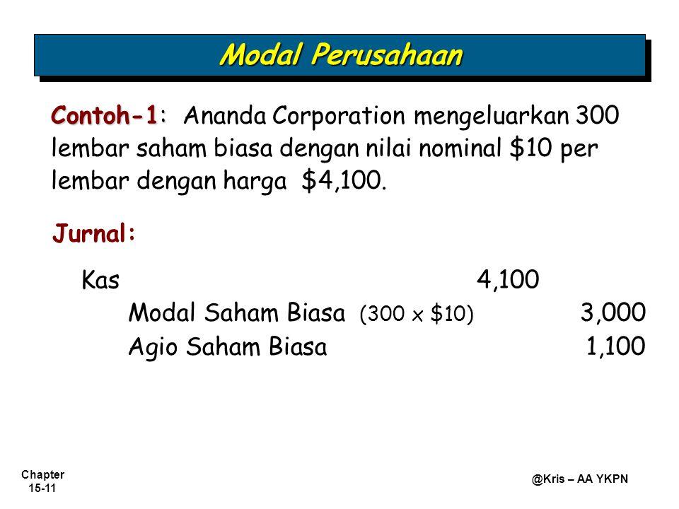 Modal Perusahaan Contoh-1: Ananda Corporation mengeluarkan 300 lembar saham biasa dengan nilai nominal $10 per lembar dengan harga $4,100.