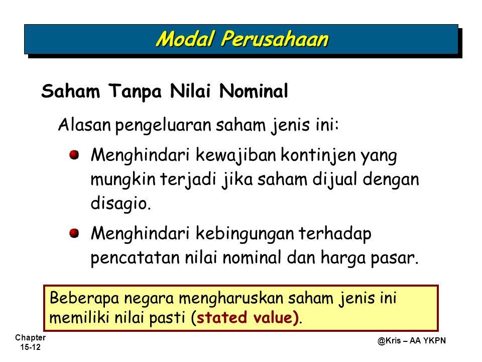 Modal Perusahaan Saham Tanpa Nilai Nominal