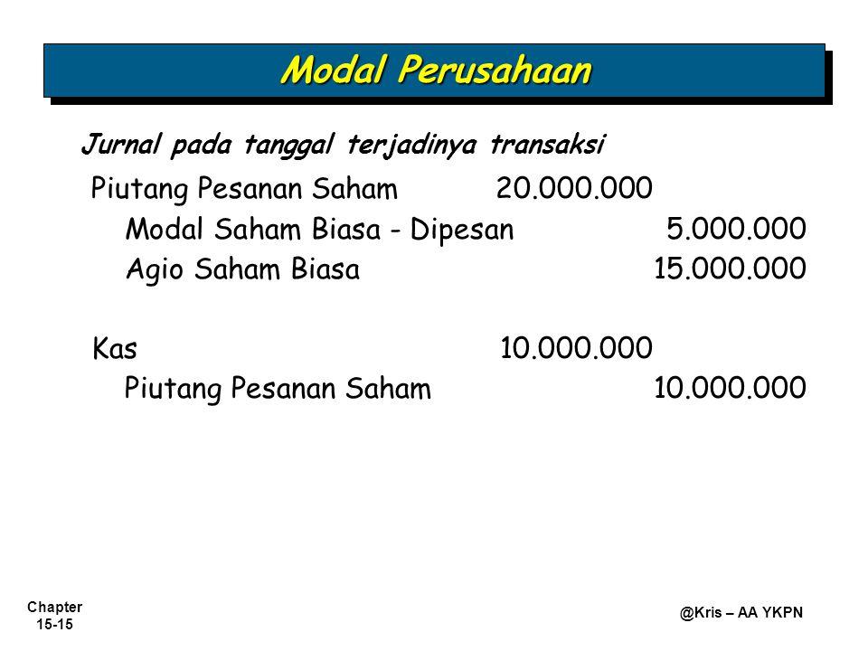 Modal Perusahaan Modal Saham Biasa - Dipesan 5.000.000 Kas 10.000.000