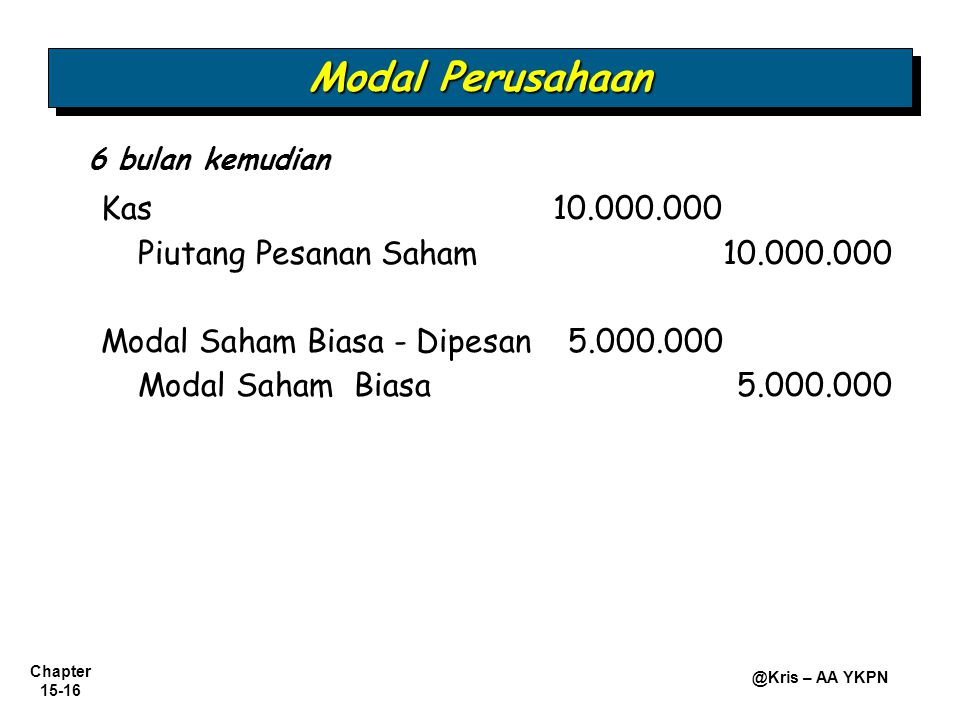 Modal Perusahaan Piutang Pesanan Saham 10.000.000