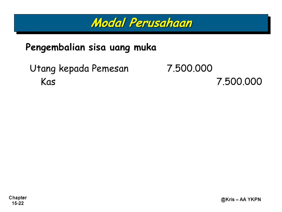 Modal Perusahaan Pengembalian sisa uang muka Kas 7.500.000