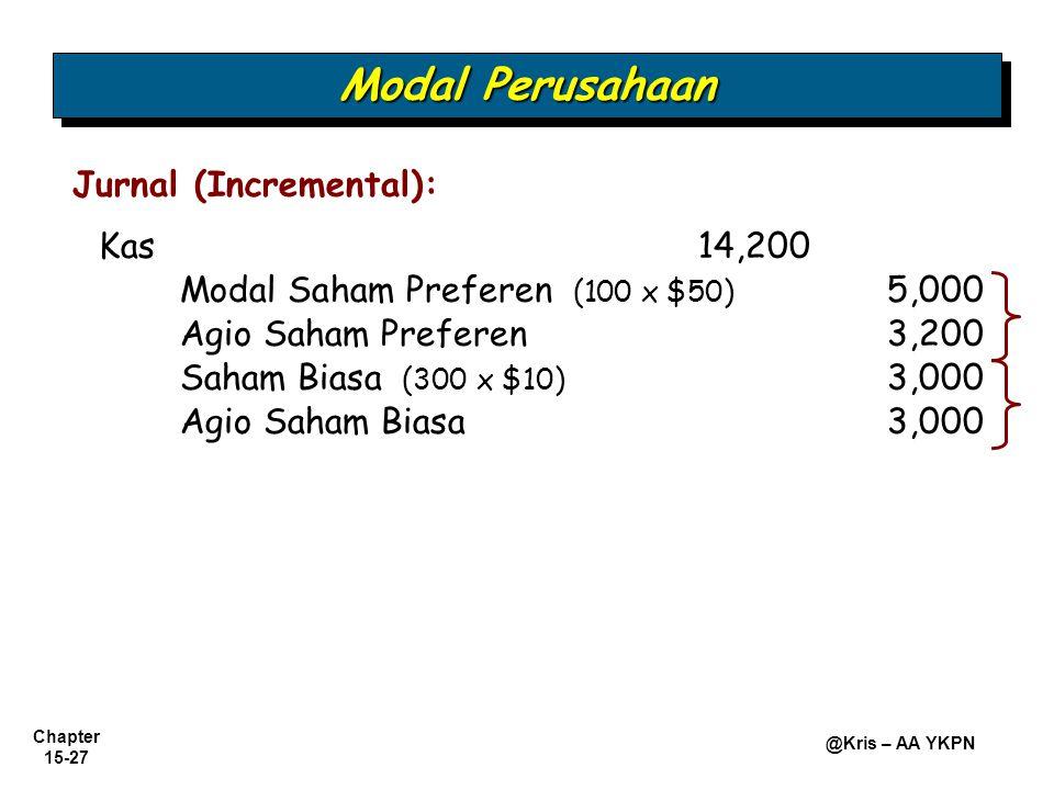 Modal Perusahaan Jurnal (Incremental): Kas 14,200