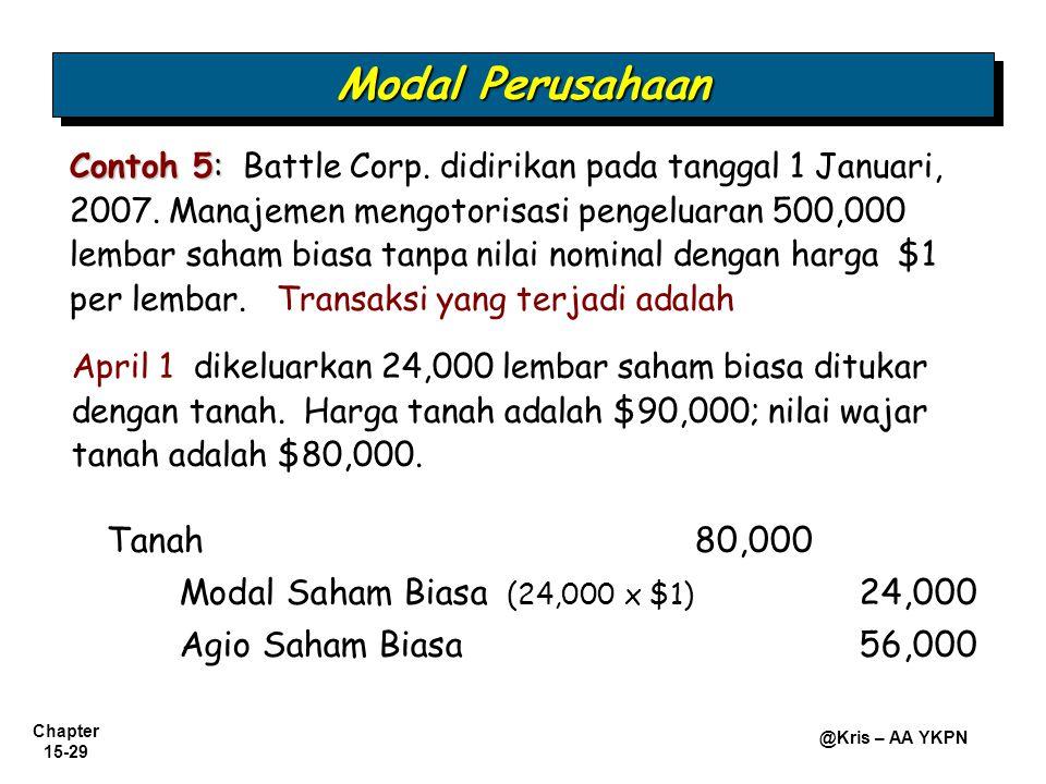 Modal Perusahaan Tanah 80,000 Modal Saham Biasa (24,000 x $1) 24,000