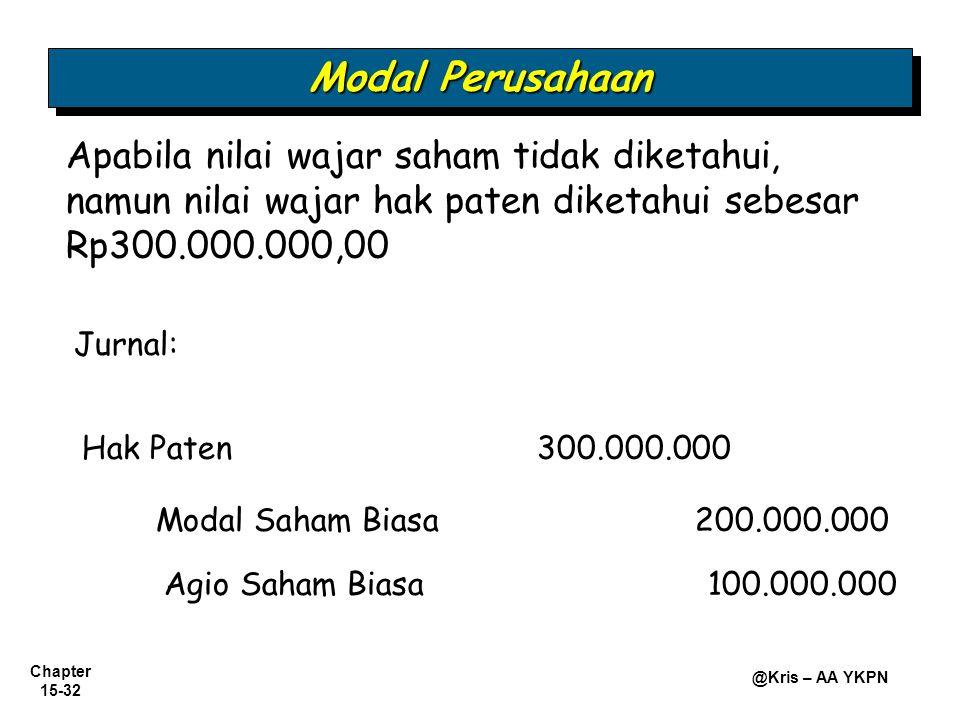 Modal Perusahaan Apabila nilai wajar saham tidak diketahui, namun nilai wajar hak paten diketahui sebesar Rp300.000.000,00.