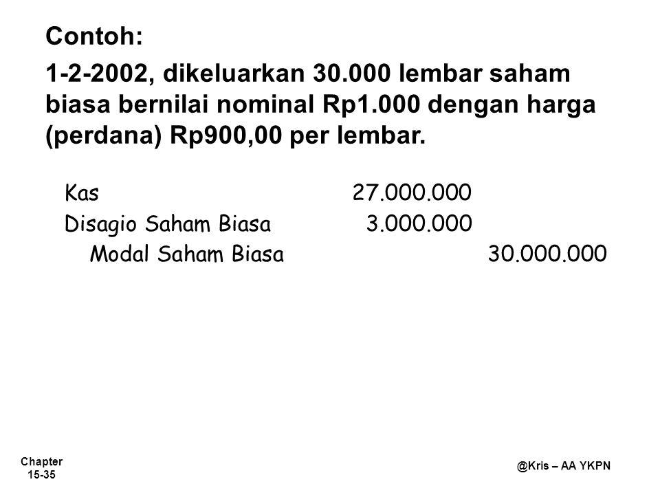 Contoh: 1-2-2002, dikeluarkan 30.000 lembar saham biasa bernilai nominal Rp1.000 dengan harga (perdana) Rp900,00 per lembar.