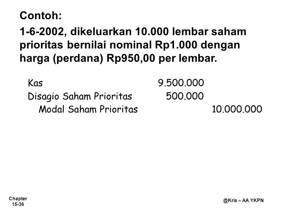 Contoh: 1-6-2002, dikeluarkan 10.000 lembar saham prioritas bernilai nominal Rp1.000 dengan harga (perdana) Rp950,00 per lembar.