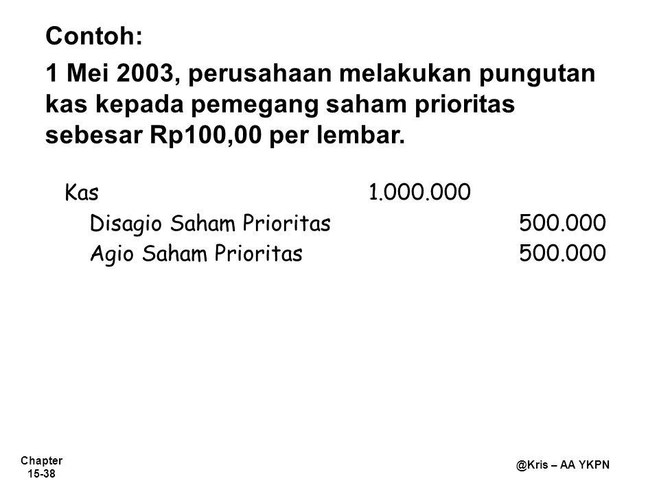 Contoh: 1 Mei 2003, perusahaan melakukan pungutan kas kepada pemegang saham prioritas sebesar Rp100,00 per lembar.