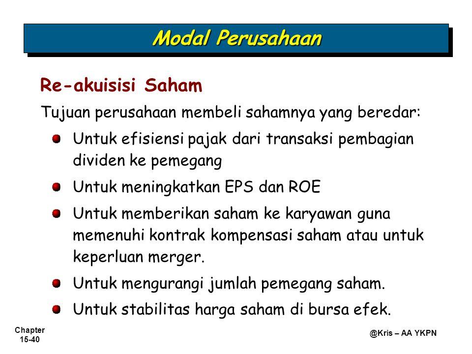 Modal Perusahaan Re-akuisisi Saham