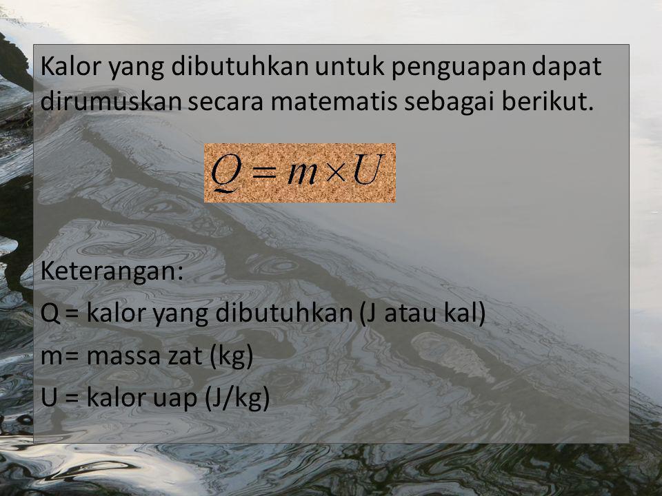 Kalor yang dibutuhkan untuk penguapan dapat dirumuskan secara matematis sebagai berikut.