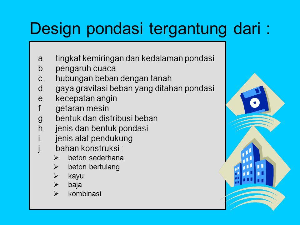 Design pondasi tergantung dari :