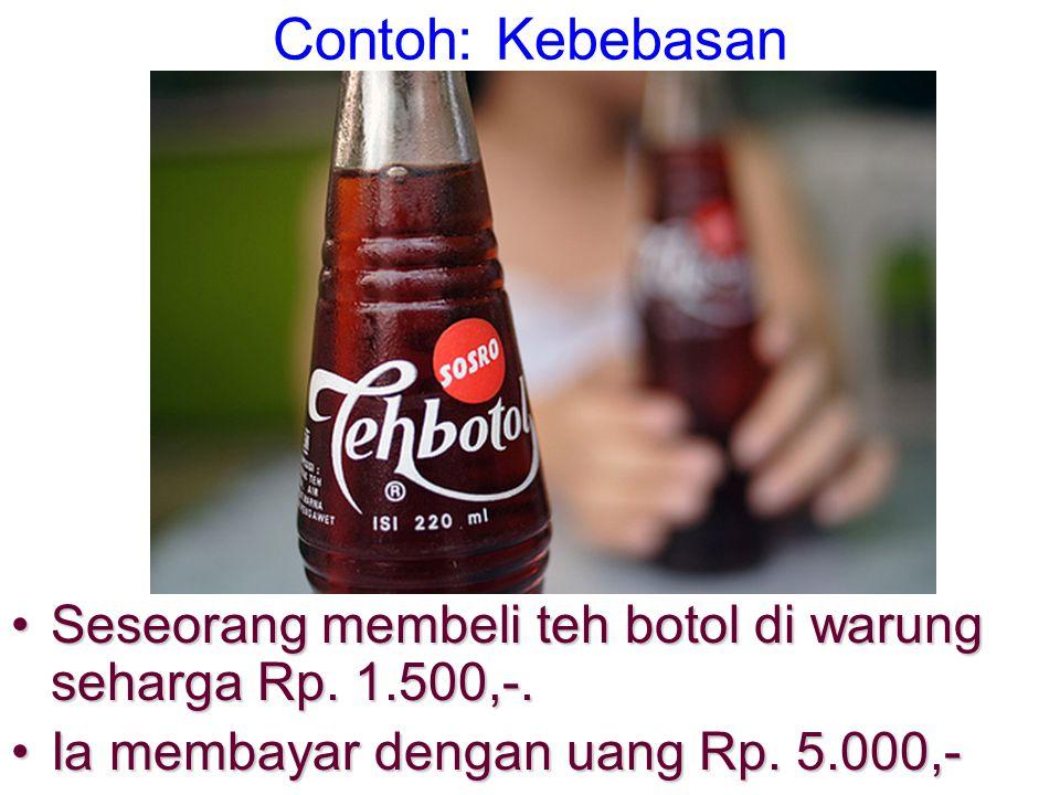 Contoh: Kebebasan Seseorang membeli teh botol di warung seharga Rp.