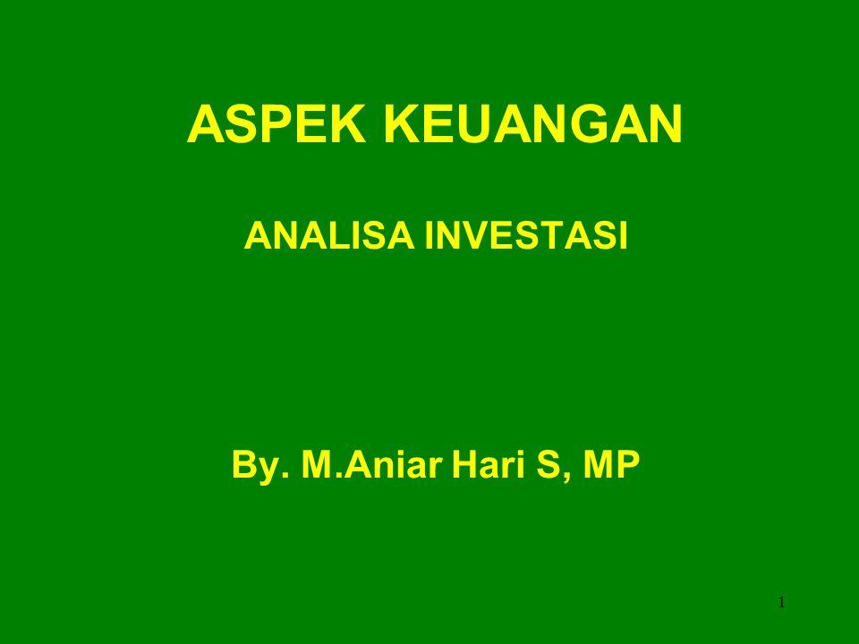 ASPEK KEUANGAN ANALISA INVESTASI By. M.Aniar Hari S, MP